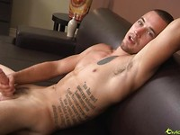 Tattooed stud Aries strokes dick