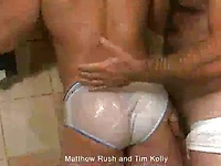 Mature muscle man Tim Kelly fucks latino papi Matthew Rush in a shower