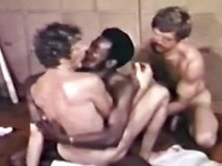 Hot interracial threesome action