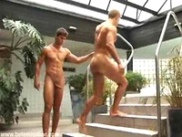 Muscled twink boys Kris Evans and Dolph Lamber foot fetish