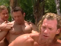 3 vicious muscle guys get wild in this incredible threesome