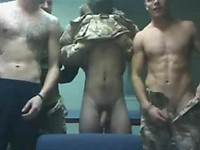 Soldiers strip down flaunting their cocks and egg each other on flashing ass and pretending to jerk each other off